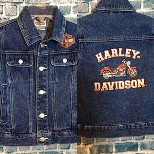Kids Harley Davidson Button Front Jean Jacket